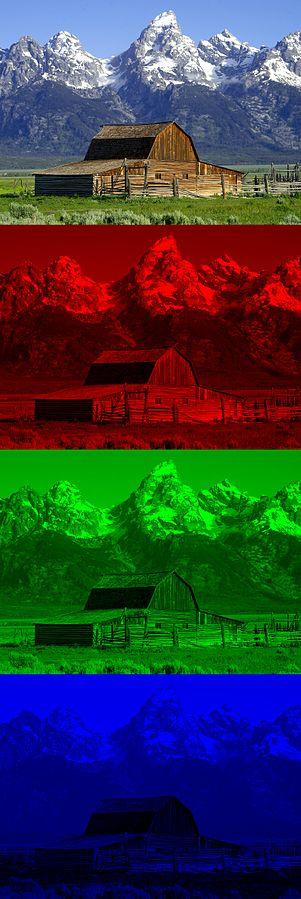 Bild in RGB-Farben separiert