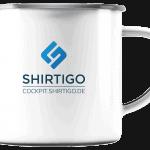 Emaille-Tasse mit Shirtigo-Cockpit-Logo