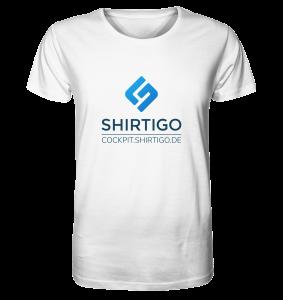 Weißes T-Shirt mit Shirtigo-Coockpit-Logo