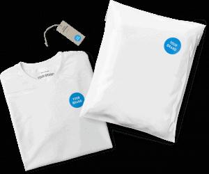 """Print-on-Demand Branding-Beispiele: Shirt, Hangtag, Verpackung mit Logo-Aufschrift """"Your Brand"""""""