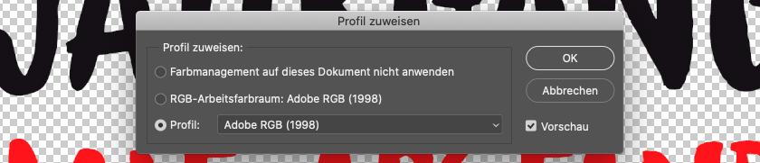 Screenshot: Profilzuweisung in Photoshop