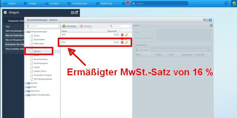 Screenshot Shopware-Backend: MwSt. eintragen