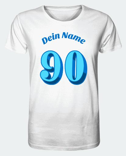"""T-Shirt mit Aufschrift """"Dein Name"""" und der Zahl """"90"""""""
