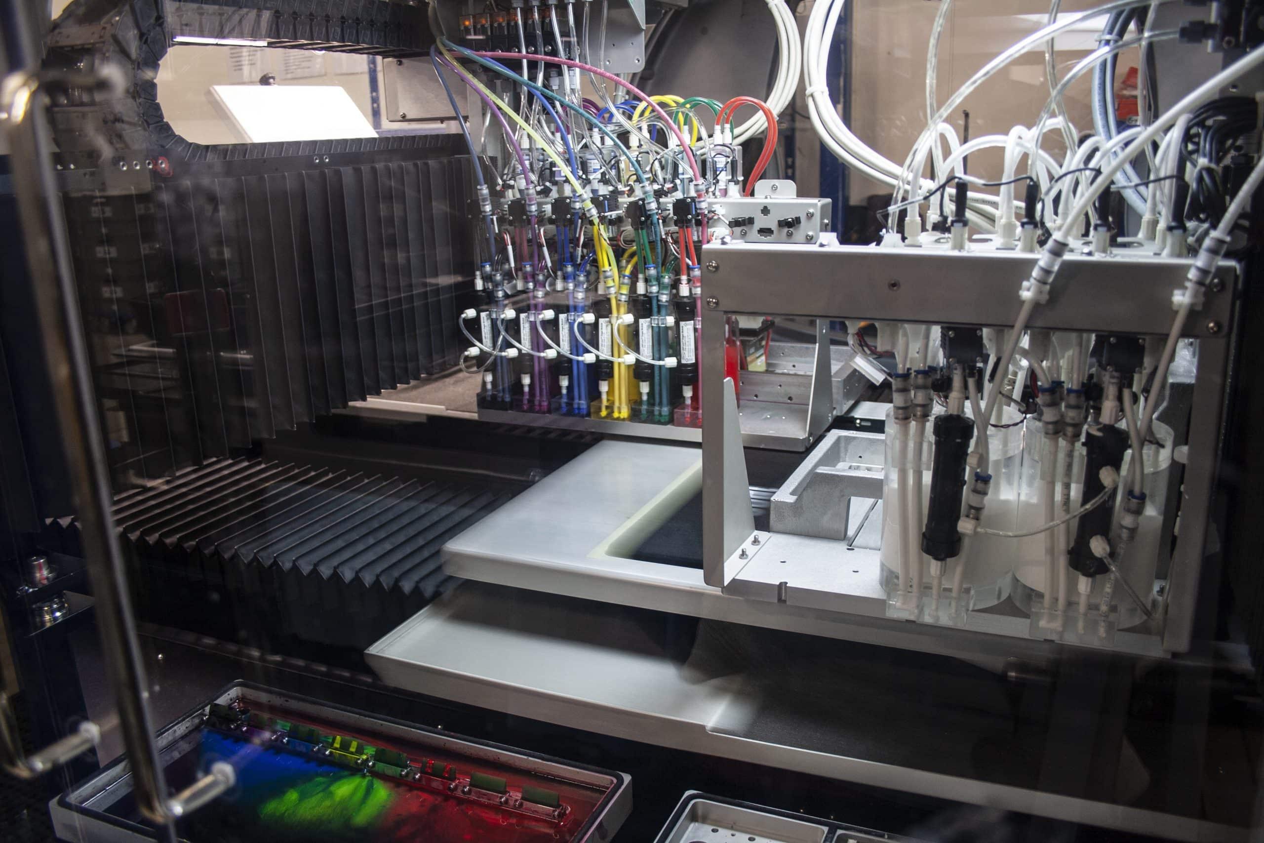 Innenleben einer DTG-Druckmaschine