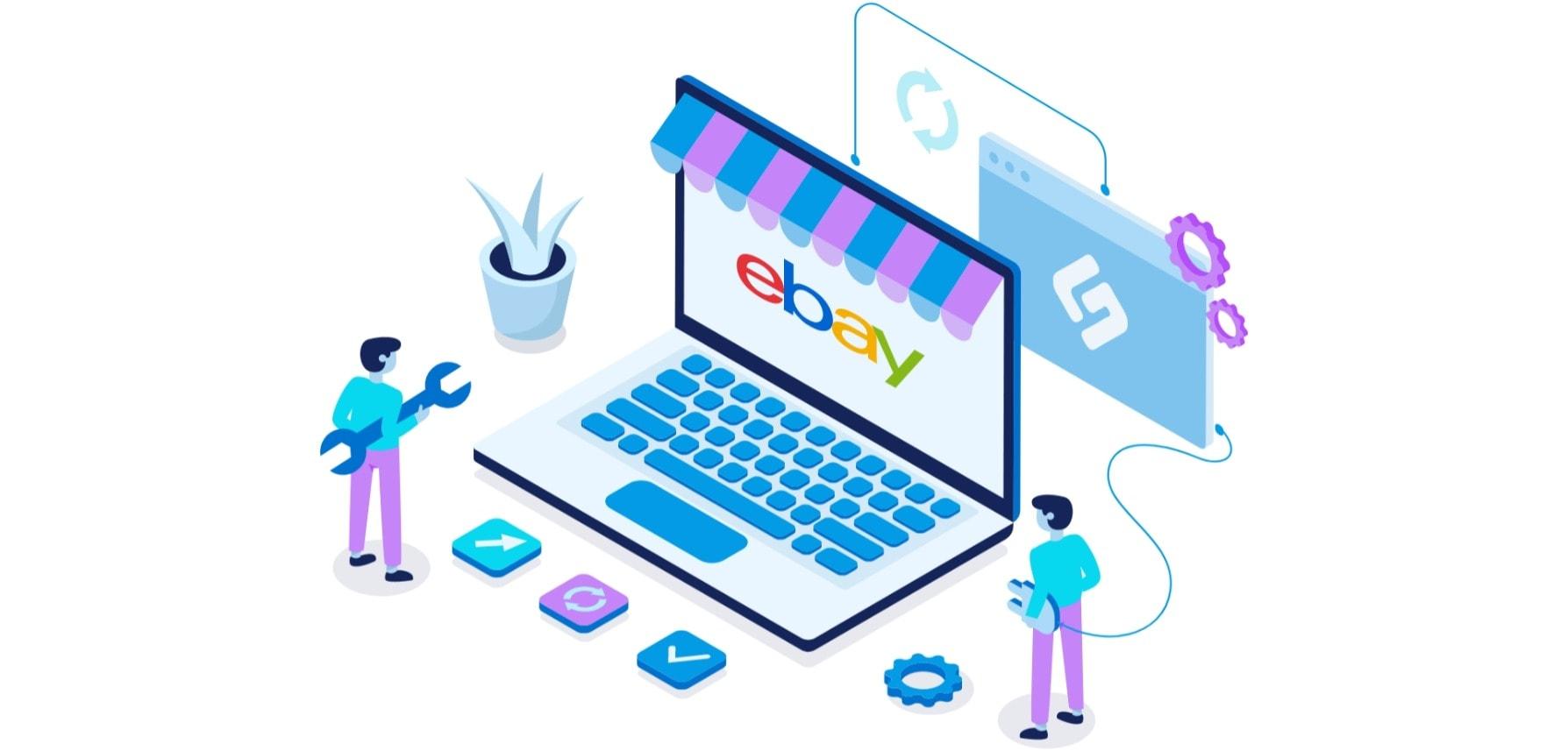 Illustration: Verknüpfung von eBay an Shirtigo-Plattform